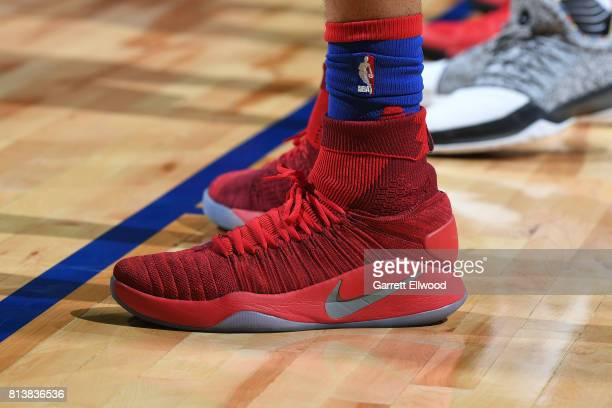The shoes of Jonah Bolden of the Philadelphia 76ers in a game against the Golden State Warriors during the 2017 Las Vegas Summer League on July 8...