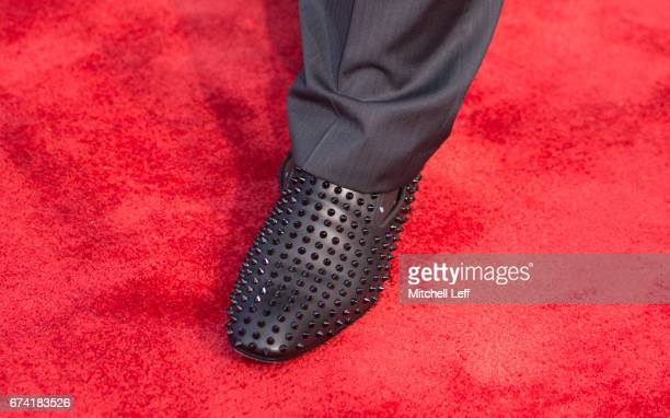 The shoes of Jonathan Allen of Alabama on the red carpet prior to the start of the 2017 NFL Draft on April 27 2017 in Philadelphia Pennsylvania
