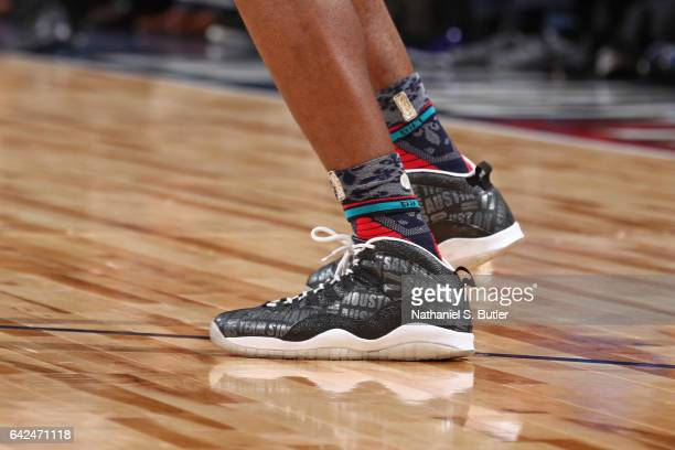 The shoes of Jonathon Simmons of the USA Team during the BBVA Compass Rising Stars Challenge as part of 2017 AllStar Weekend at the Smoothie King...