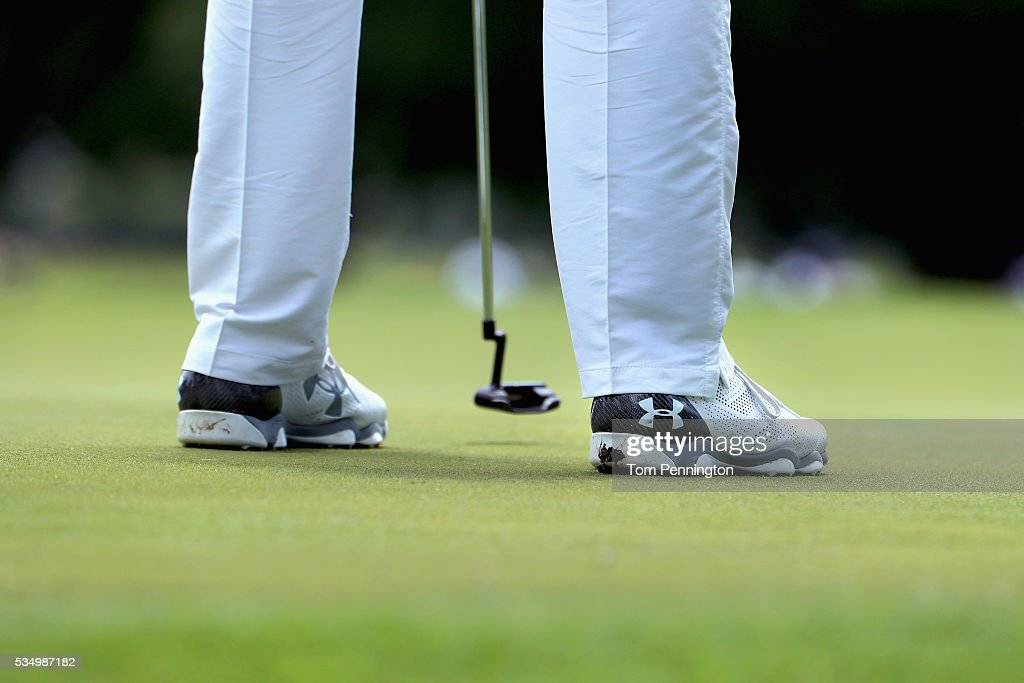 The shoes of <a gi-track='captionPersonalityLinkClicked' href=/galleries/search?phrase=Jordan+Spieth&family=editorial&specificpeople=5440480 ng-click='$event.stopPropagation()'>Jordan Spieth</a> are seen on the second green during the Third Round of the DEAN & DELUCA Invitational at Colonial Country Club on May 28, 2016 in Fort Worth, Texas.