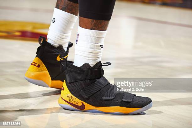 The shoes of JR Smith of the Cleveland Cavaliers in Game Four of the Eastern Conference Finals against the Boston Celtics during the 2017 NBA...