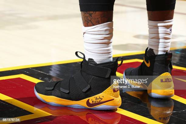 The shoes of JR Smith of the Cleveland Cavaliers in Game Three of the Eastern Conference Finals against the Boston Celtics during the 2017 NBA...