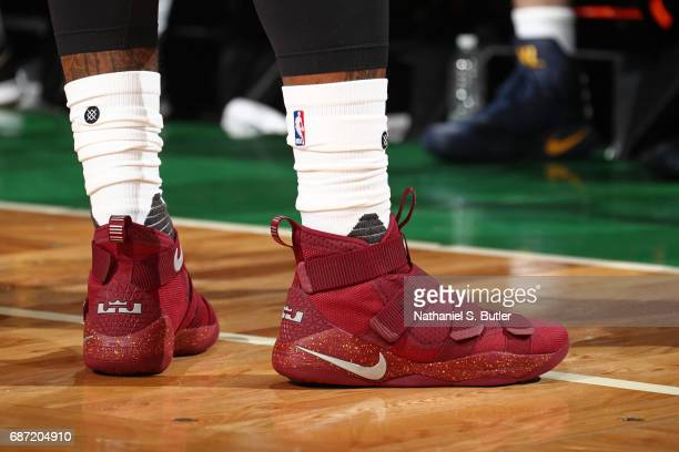 The shoes of JR Smith of the Cleveland Cavaliers in Game Two of the Eastern Conference Finals against the Boston Celtics during the 2017 NBA Playoffs...