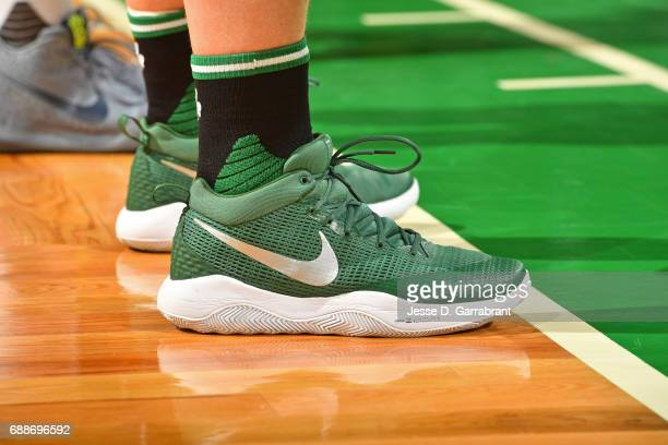 The shoes of Kelly Olynyk of the Boston Celtics in Game Five of the Eastern Conference Finals against the Cleveland Cavaliers during the 2017 NBA...