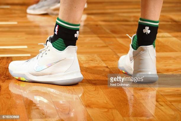 The shoes of Kelly Olynyk of the Boston Celtics in Game One of the Eastern Conference Semifinals against the Washington Wizards of the 2017 NBA...