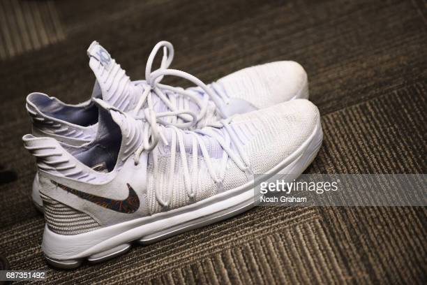 The shoes of Kevin Durant of the Golden State Warriors in the locker room before Game Four of the Western Conference Finals against the San Antonio...