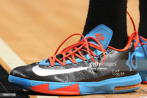 The shoes of Kevin Durant of the Oklahoma City Thunder against the Minnesota Timberwolves on November 1 2013 at Target Center in Minneapolis...