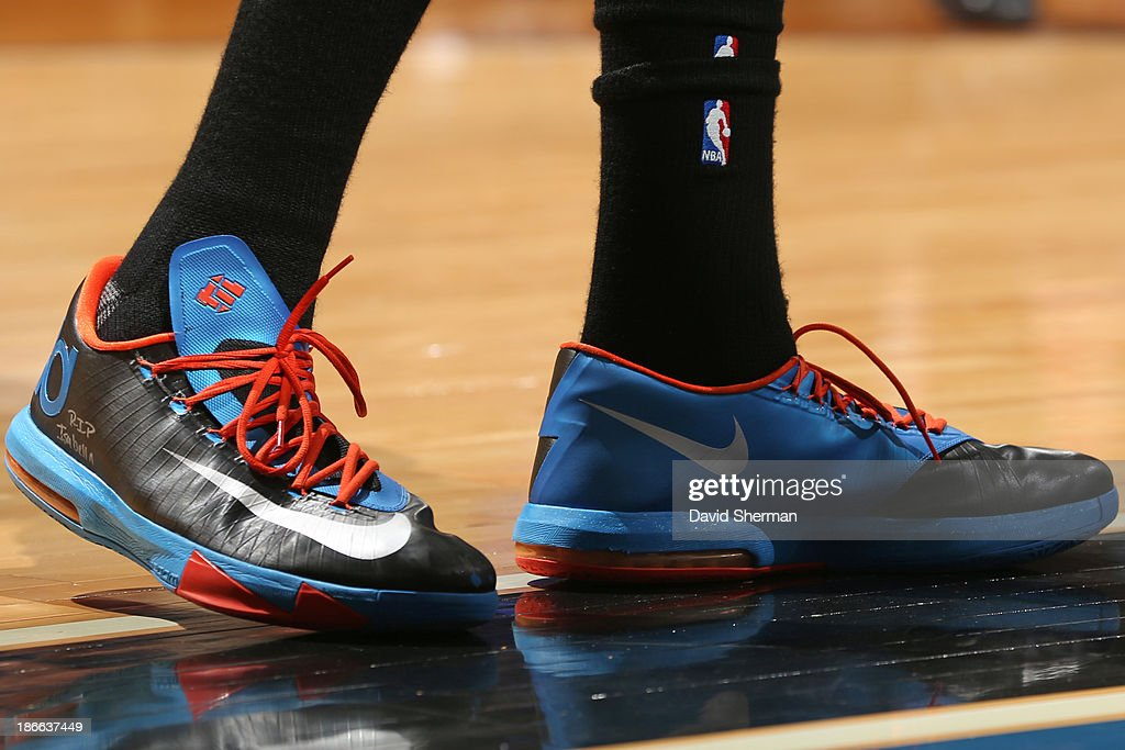 The shoes of <a gi-track='captionPersonalityLinkClicked' href=/galleries/search?phrase=Kevin+Durant&family=editorial&specificpeople=3847329 ng-click='$event.stopPropagation()'>Kevin Durant</a> #35 of the Oklahoma City Thunder against the Minnesota Timberwolves on November 1, 2013 at Target Center in Minneapolis, Minnesota.