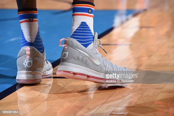 The shoes of Kevin Durant of the Oklahoma City Thunder are seen during the game against the Golden State Warriors in Game Six of the Western...