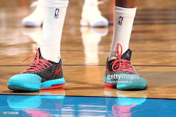 The shoes of Kevin Durant of the Oklahoma City Thunder during the game against the Dallas Mavericks on November 06 2013 at the Chesapeake Energy...