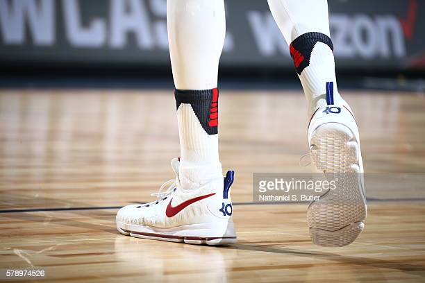 The shoes of Kevin Durant of the USA Basketball Men's National Team are seen during the game against Argentina on July 22 2016 at TMobile Arena in...
