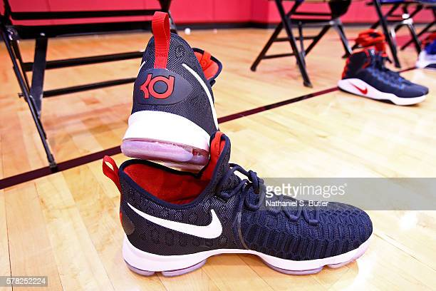 The shoes of Kevin Durant of the USA Men's National Team on display before practice on July 19 2016 at Mendenhall Center on the University of Nevada...