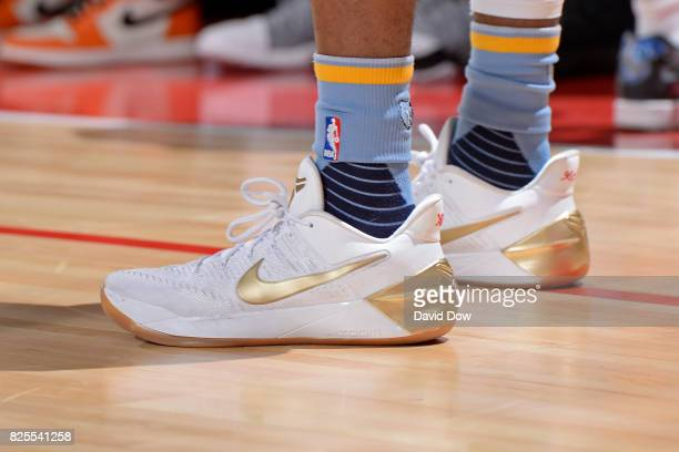 The shoes of Kobi Simmons of the Memphis Grizzlies during the 2017 Las Vegas Summer League game against the Phoenix Suns on July 13 2017 at the Cox...
