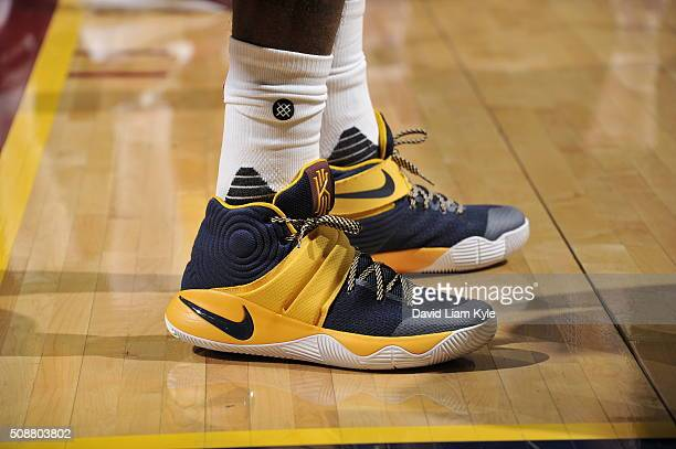 The shoes of Kyrie Irving of the Cleveland Cavaliers are seen during the game against the New Orleans Pelicans on February 6 2016 at Quicken Loans...