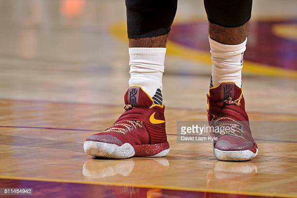 The shoes of Kyrie Irving of the Cleveland Cavaliers are seen during the game against the New York Knicks on December 23 2015 at Quicken Loans Arena...