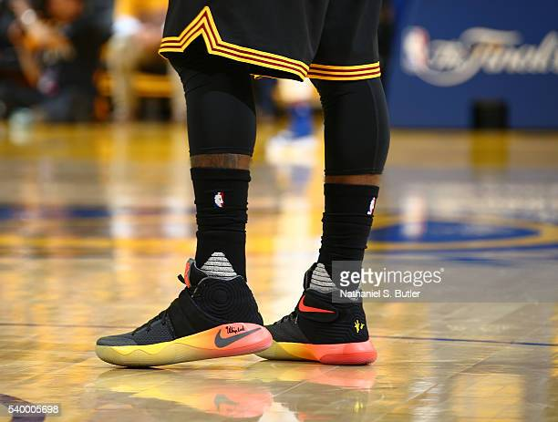 The shoes of Kyrie Irving of the Cleveland Cavaliers are seen during the game against the Golden State Warriors in Game Five of the 2016 NBA Finals...