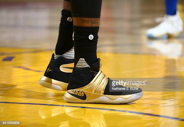 The shoes of Kyrie Irving of the Cleveland Cavaliers are seen during the game against the Golden State Warriors in Game Seven of the 2016 NBA Finals...