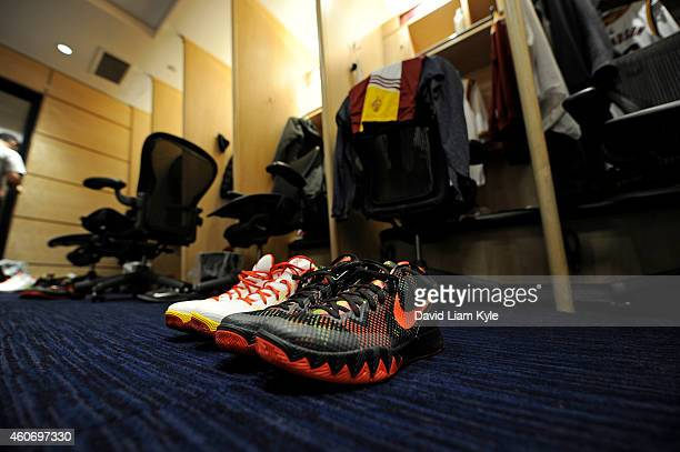 The shoes of Kyrie Irving of the Cleveland Cavaliers before the game against the Brooklyn Nets on December 19 2014 at Quicken Loans Arena in...