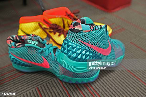 The shoes of Kyrie Irving of the Cleveland Cavaliers before the game against the Miami Heat at the American Airlines Arena on December 25 2014 in...