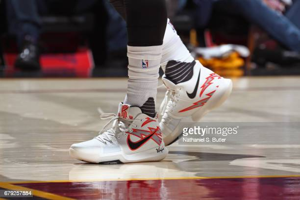 The shoes of Kyrie Irving of the Cleveland Cavaliers during Game Two of the Eastern Conference Semifinals against the Toronto Raptors during the 2017...
