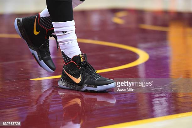 The shoes of Kyrie Irving of the Cleveland Cavaliers during the first half against the Sacramento Kings at Quicken Loans Arena on January 25 2017 in...