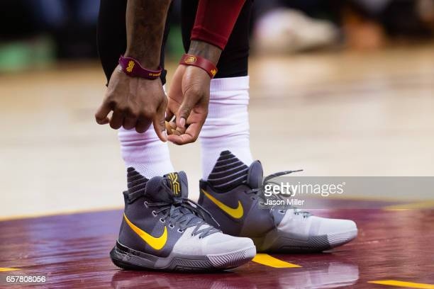 The shoes of Kyrie Irving of the Cleveland Cavaliers during the first half against the Washington Wizards at Quicken Loans Arena on March 25 2017 in...