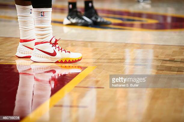 The shoes of Kyrie Irving of the Cleveland Cavaliers during the game against the Memphis Grizzlies on December 21 2014 at Quicken Loans Arena in...