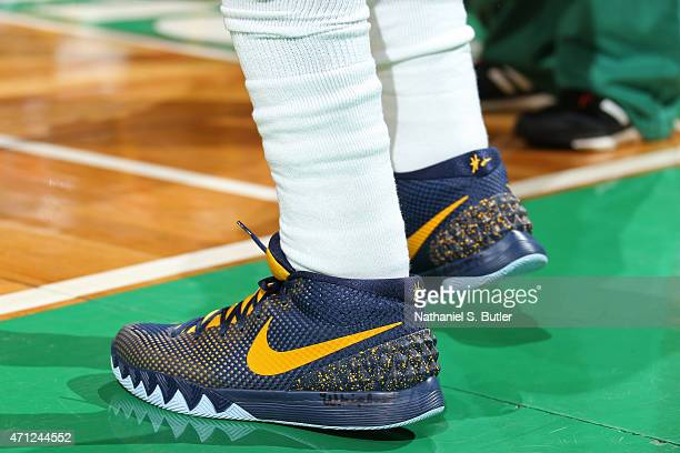 The shoes of Kyrie Irving of the Cleveland Cavaliers during the game against the Boston Celtics during Game Three of the Eastern Conference...