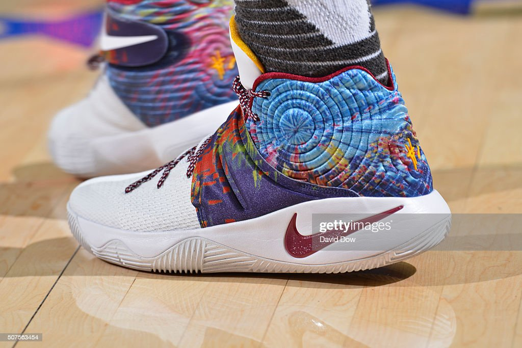 The shoes of Kyrie Irving #2 of the Cleveland Cavaliers during the game against the Philadelphia 76ers at the Wells Fargo Center on January 10, 2016 in Philadelphia, Pennsylvania.