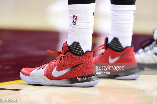 The shoes of Kyrie Irving of the Cleveland Cavaliers during the second half against the Denver Nuggets at Quicken Loans Arena on February 11 2017 in...