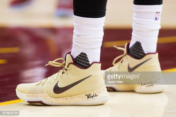 The shoes of Kyrie Irving of the Cleveland Cavaliers during the second half of Game One of the NBA Eastern Conference semifinals against the Toronto...