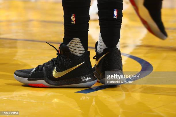 The shoes of Kyrie Irving of the Cleveland Cavaliers in Game Five of the 2017 NBA Finals against the Golden State Warriors on June 12 2017 at Oracle...