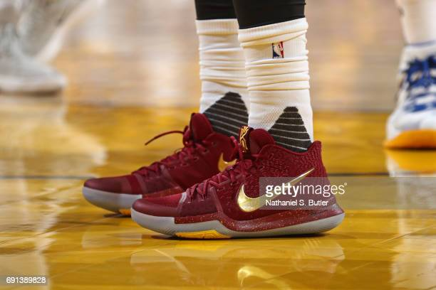 The shoes of Kyrie Irving of the Cleveland Cavaliers in Game One of the 2017 NBA Finals against the Golden State Warriors on June 1 2017 at Oracle...