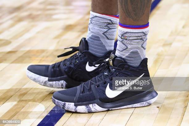 The shoes of Kyrie Irving of the Eastern Conference All Star Team during NBA AllStar Practice as part of 2017 AllStar Weekend at the MercedesBenz...