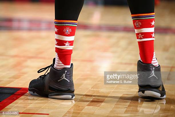 The shoes of LaMarcus Aldridge of the Western Conference during the NBA AllStar Game as part of 2016 NBA AllStar Weekend on February 14 2016 at the...