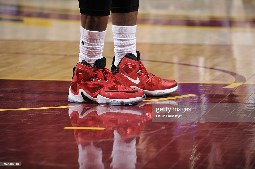 The shoes of <a gi-track='captionPersonalityLinkClicked' href=/galleries/search?phrase=LeBron+James&family=editorial&specificpeople=201474 ng-click='$event.stopPropagation()'>LeBron James</a> #23 of the Cleveland Cavaliers are seen during the game against the Sacramento Kings on February 8, 2016 at Quicken Loans Arena in Cleveland, Ohio.