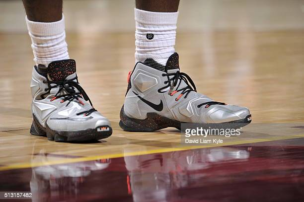 The shoes of LeBron James of the Cleveland Cavaliers are seen during the game against the Indiana Pacers on February 29 2016 at Quicken Loans Arena...