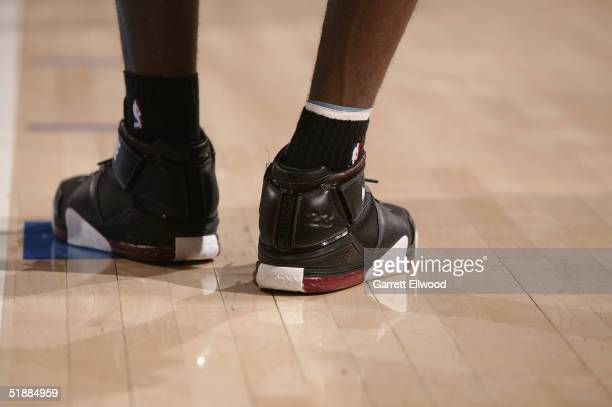 The shoes of LeBron James of the Cleveland Cavaliers are seen during the game against the Denver Nuggets on December 2 2004 at Pepsi Center in Denver...