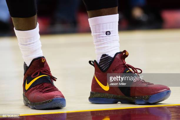 The shoes of LeBron James of the Cleveland Cavaliers during the first half against the Washington Wizards at Quicken Loans Arena on March 25 2017 in...