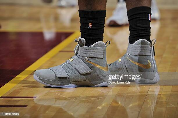 The shoes of LeBron James of the Cleveland Cavaliers during the game against the New York Knicks on October 25 2016 at Quicken Loans Arena in...
