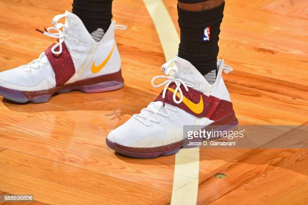 The shoes of LeBron James of the Cleveland Cavaliers in Game Five of the Eastern Conference Finals against the Boston Celtics during the 2017 NBA...