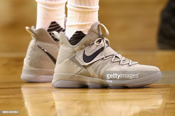 The shoes of LeBron James of the Cleveland Cavaliers prior to Game Five of the 2017 NBA Eastern Conference Finals at TD Garden on May 25 2017 in...