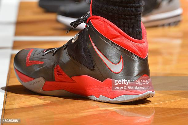 The shoes of LeBron James of the Miami Heat during a game against the Brooklyn Nets in Game Four of the Eastern Conference Semifinals on May 12 2014...