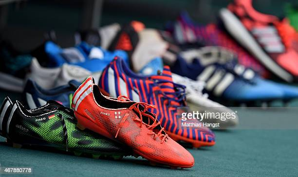 The shoes of Lukas Podolski seen prior to a Germany training session ahead of their Euro 2016 Qualifier against Georgia at Boris Paichadze National...