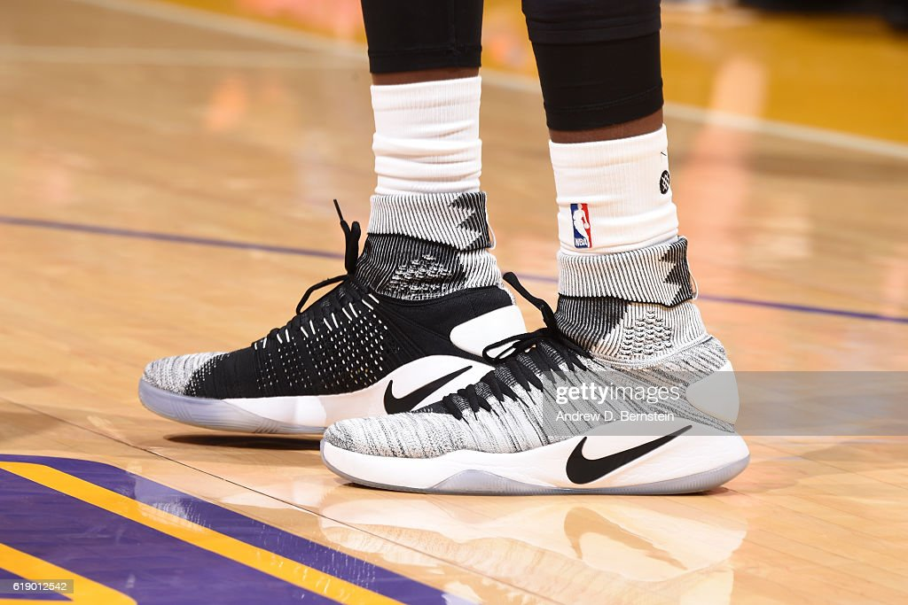The shoes of Luol Deng #9 of the Los Angeles Lakers during the game against the Houston Rockets on October 26, 2016 at STAPLES Center in Los Angeles, California.