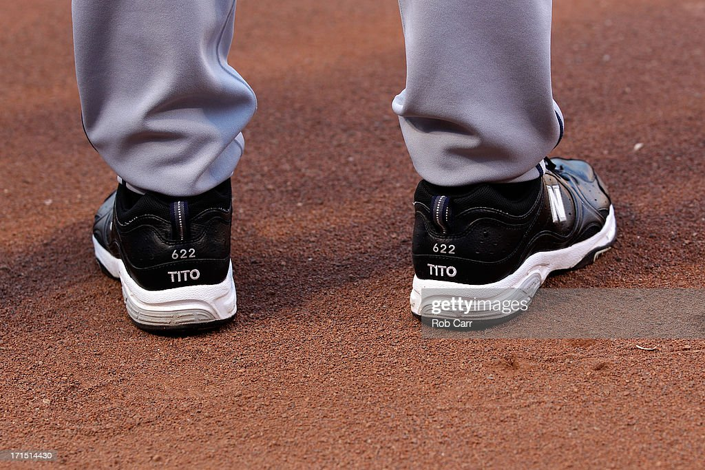The shoes of manager Terry Francona #17 of the Cleveland Indians are shown before the start of the Indians game against the Baltimore Orioles at Oriole Park at Camden Yards on June 25, 2013 in Baltimore, Maryland.