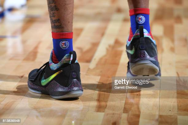 The shoes of Markelle Fultz of the Philadelphia 76ers in a game against the Golden State Warriors during the 2017 Las Vegas Summer League on July 8...