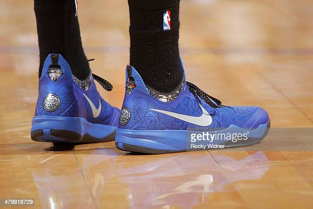 The shoes of Maurice Harkless of the Orlando Magic while facing the Golden State Warriors on March 18 2014 at Oracle Arena in Oakland California NOTE...