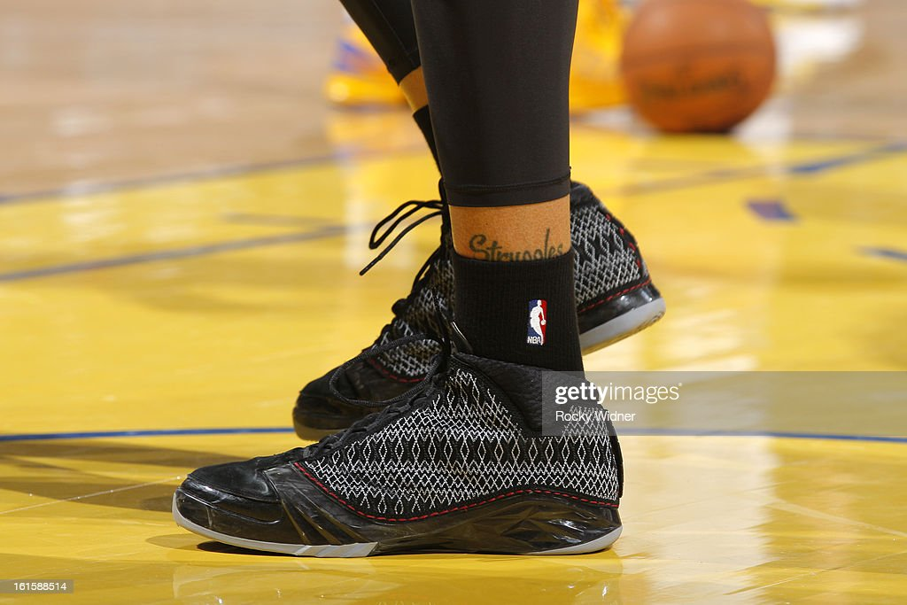 The shoes of <a gi-track='captionPersonalityLinkClicked' href=/galleries/search?phrase=Michael+Beasley&family=editorial&specificpeople=4135134 ng-click='$event.stopPropagation()'>Michael Beasley</a> #0 of the Phoenix Suns during a game against the Golden State Warriors on February 2, 2013 at Oracle Arena in Oakland, California.
