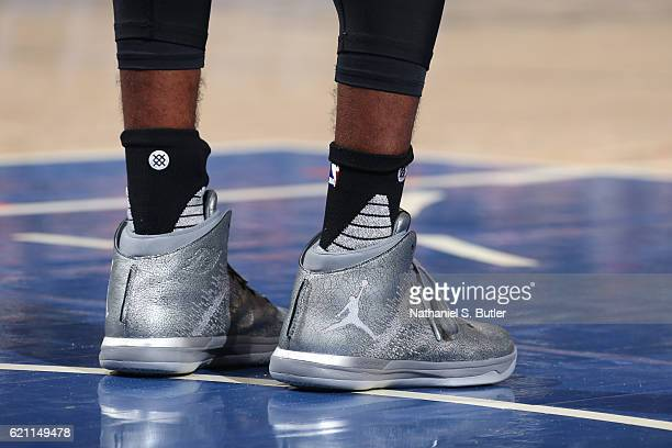 The shoes of Mike Conley of the Memphis Grizzlies during the game against the New York Knicks on October 29 2016 at Madison Square Garden in New York...